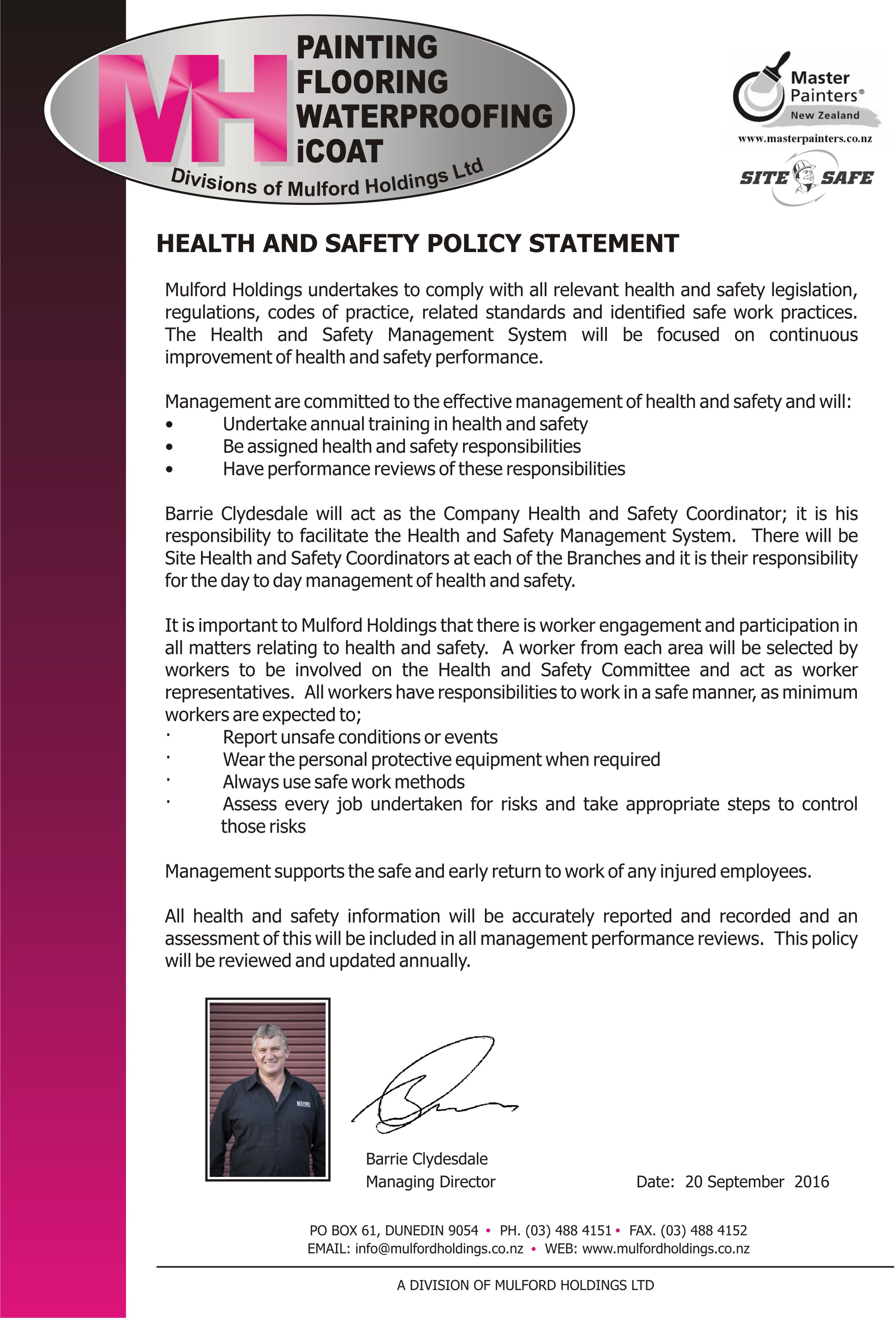 health and safety policies safeguarding workplaces If you have not got the right policies, people and procedures in place to manage health and safety,  health & safety advice pack for smaller firms.
